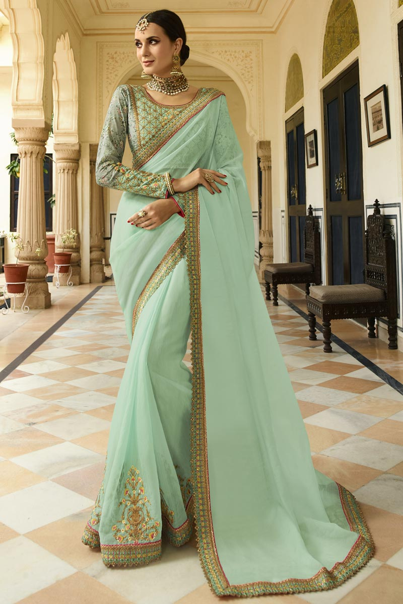 Sea Green Wedding Wear Art Silk Fabric Embellished Designer Saree