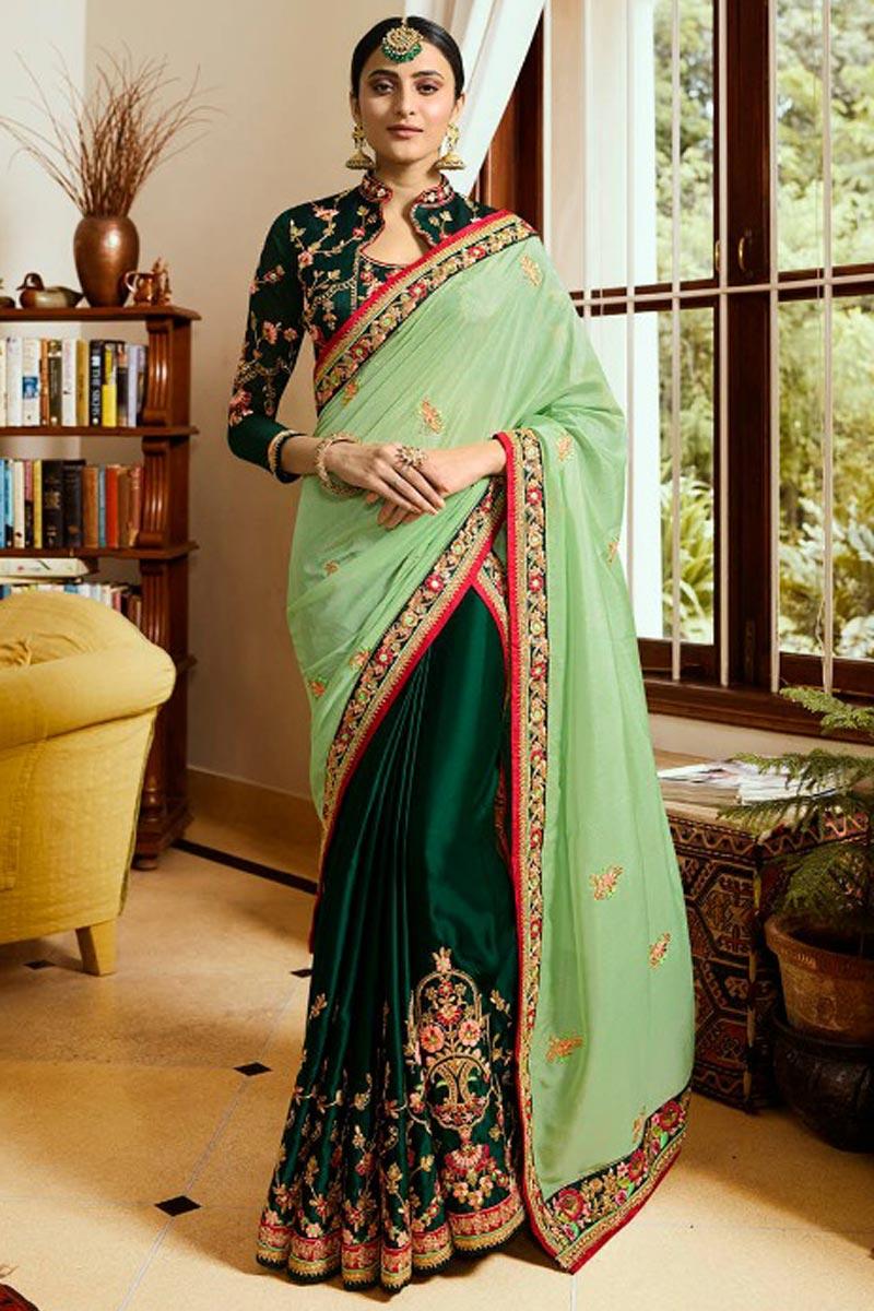 Art Silk Dark Green Festive Wear Saree With Embroidery Work And Designer Blouse