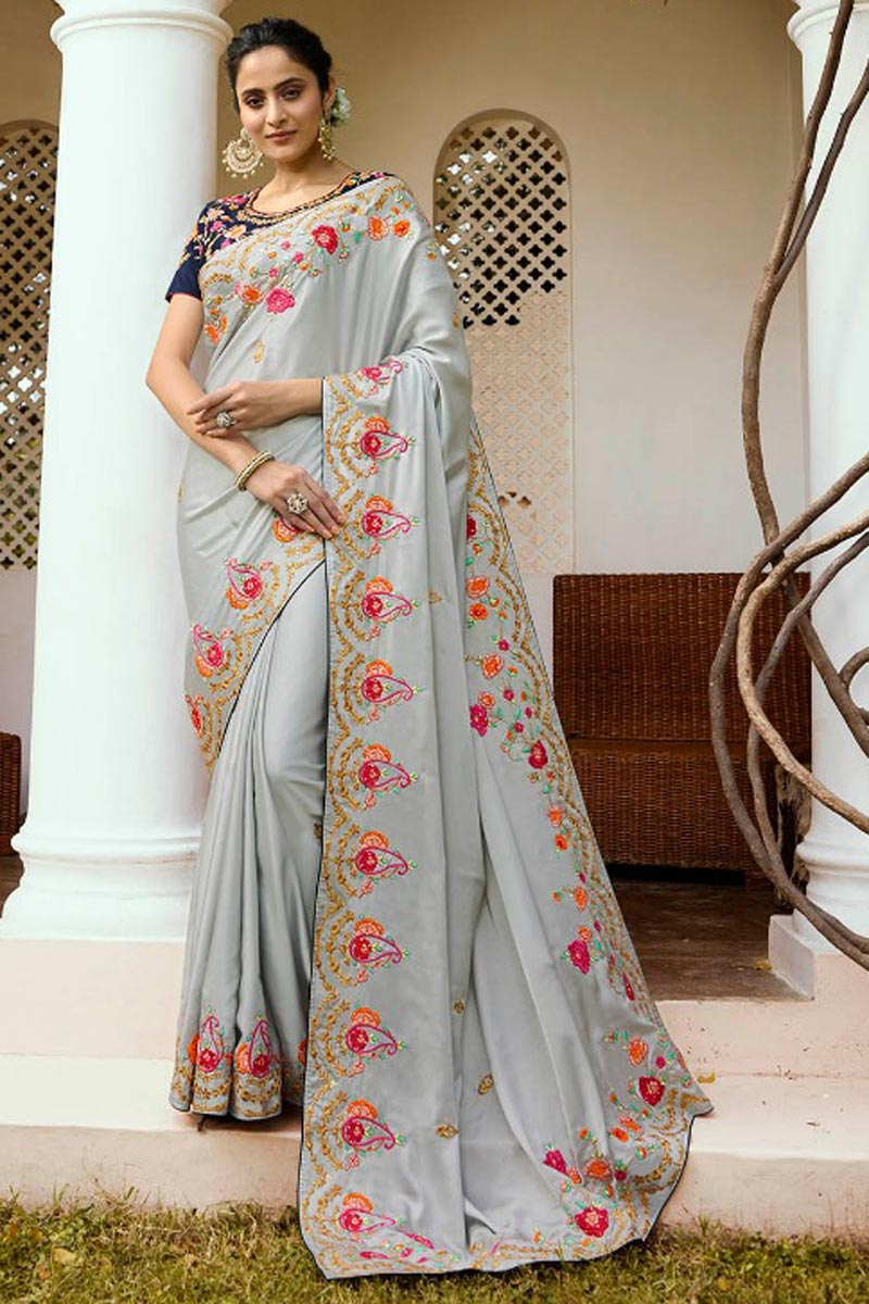 Embroidery Work On Fancy Fabric Saree With Beautiful Blouse Designs In Grey