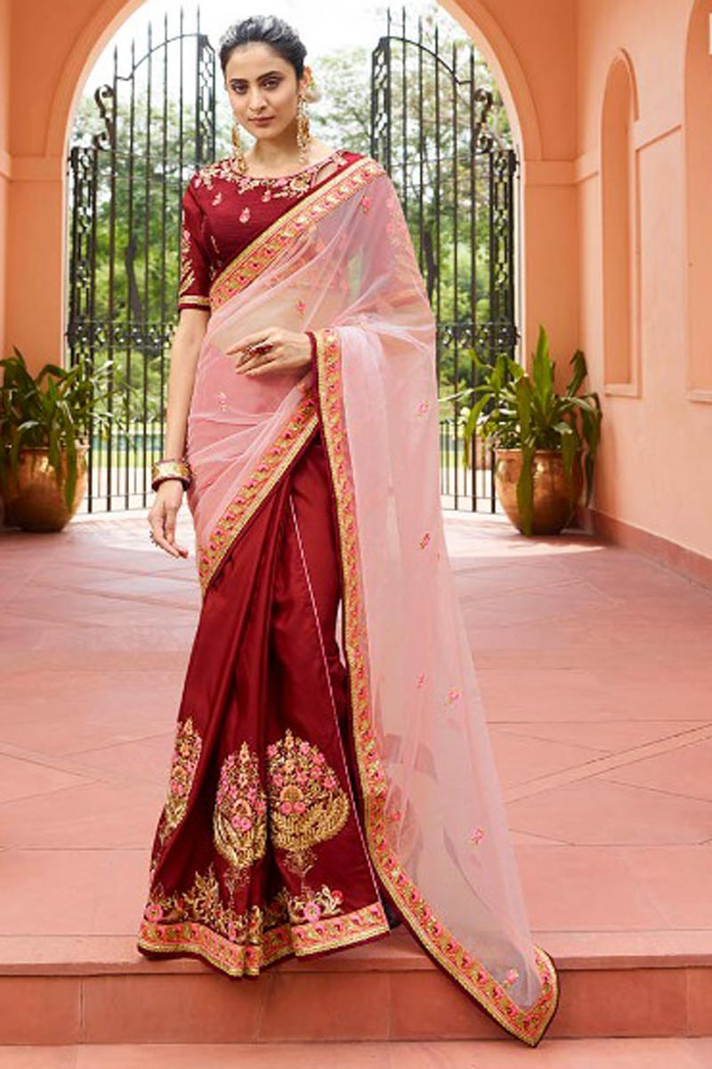 Fancy Fabric Embroidered Party Wear Saree In Maroon With Designer Blouse