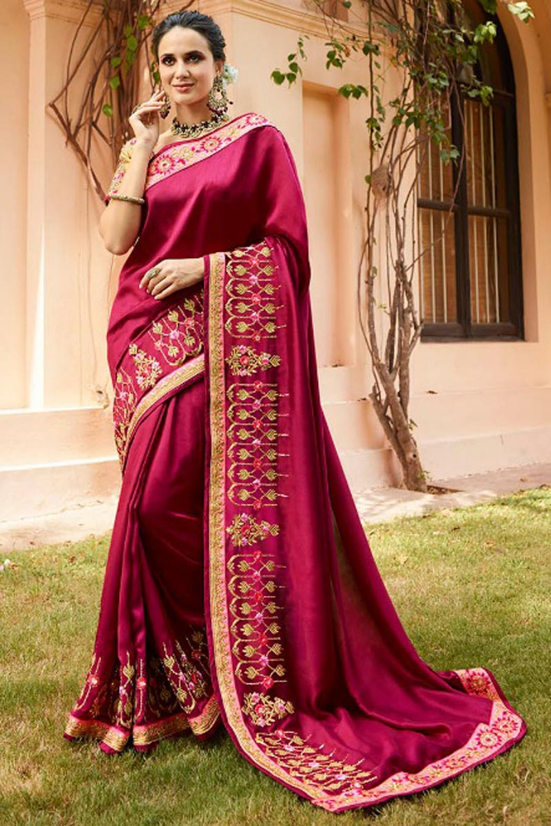 Crimson Color Fancy Fabric Sangeet Wear Saree With Embroidery Work And Blouse