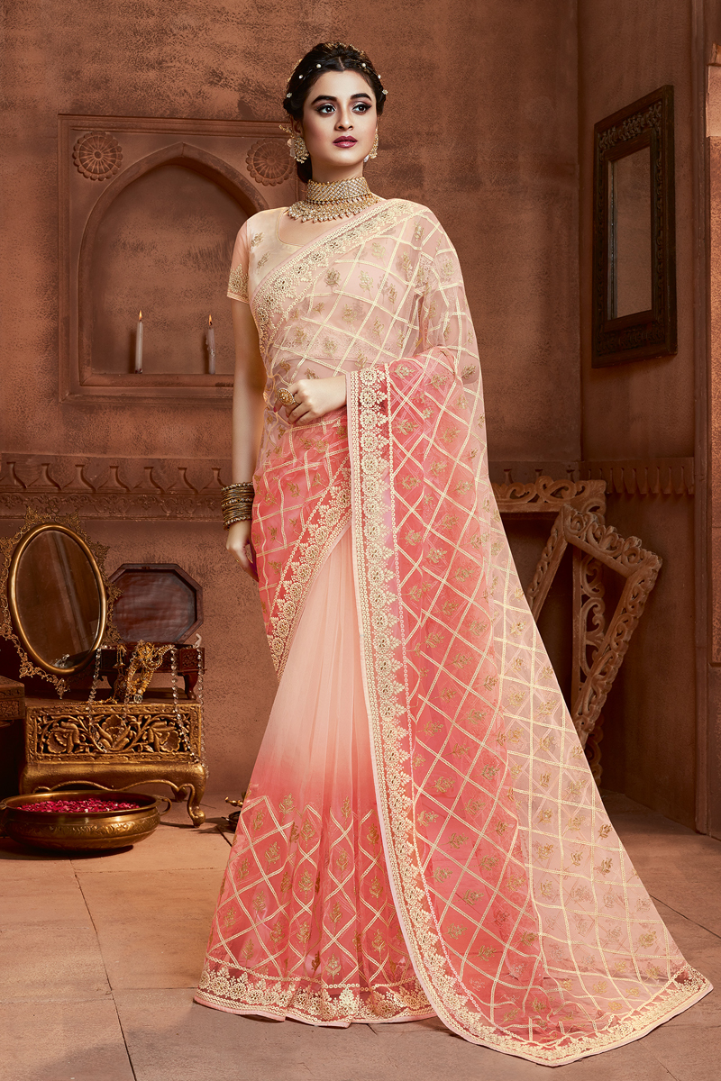 Party Wear Embroidery Work Designer Saree In Net Fabric