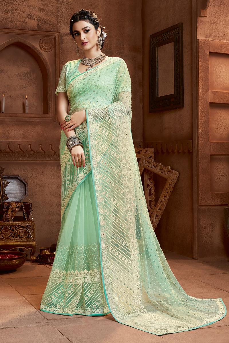 Fancy Embroidery Work Sea Green Color Net Fabric Sangeet Wear Saree