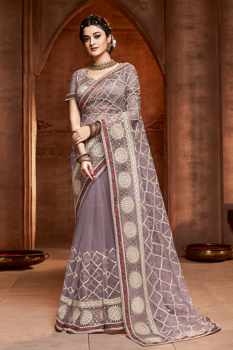 Embroidery Work Designs Net Fabric Light Lavender Color Party Wear Saree