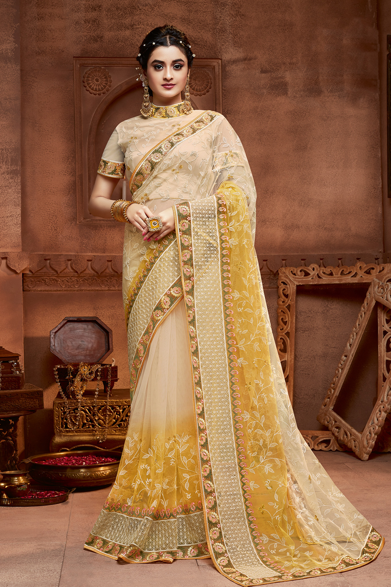 Fancy Net Fabric Beige Color Saree With Embroidery Work