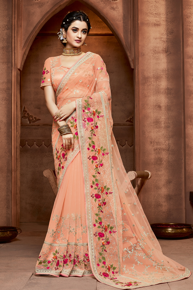 Embroidery Work Designs Salmon Color Occasion Wear Saree In Net Fabric