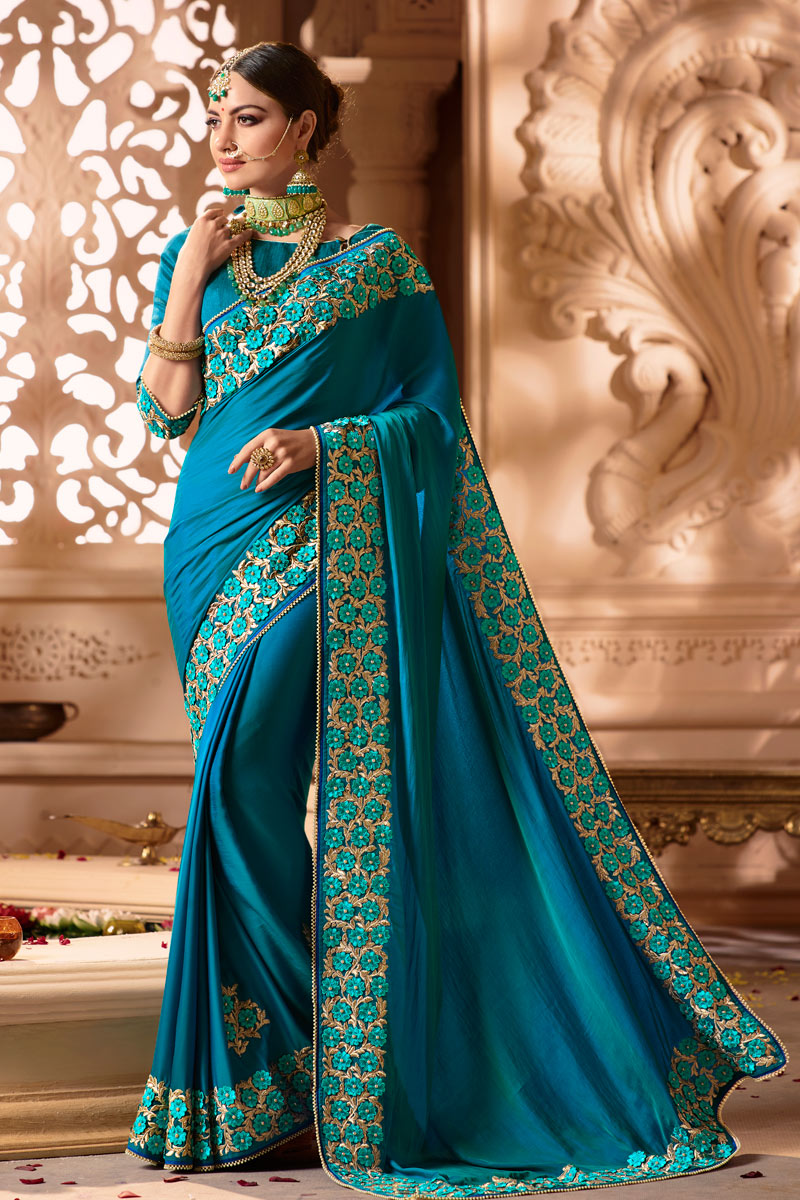 Wedding Wear Art Silk Fabric Sky Blue Designer Saree With Embroidered Blouse