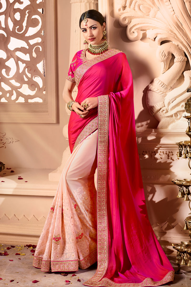 Art Silk Fabric Function Wear Designer Saree With Embellished Blouse