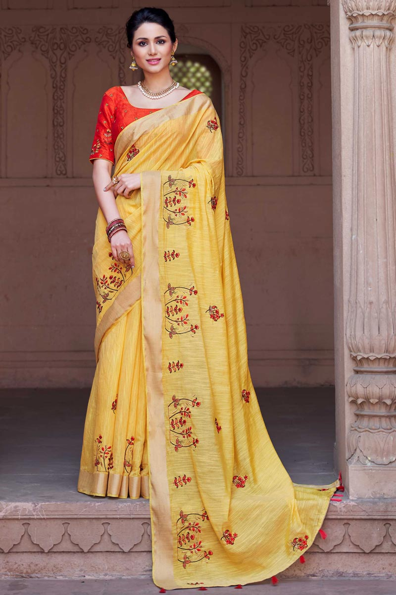 Yellow Traditional Viscose Fabric Party Wear Embroidered Saree