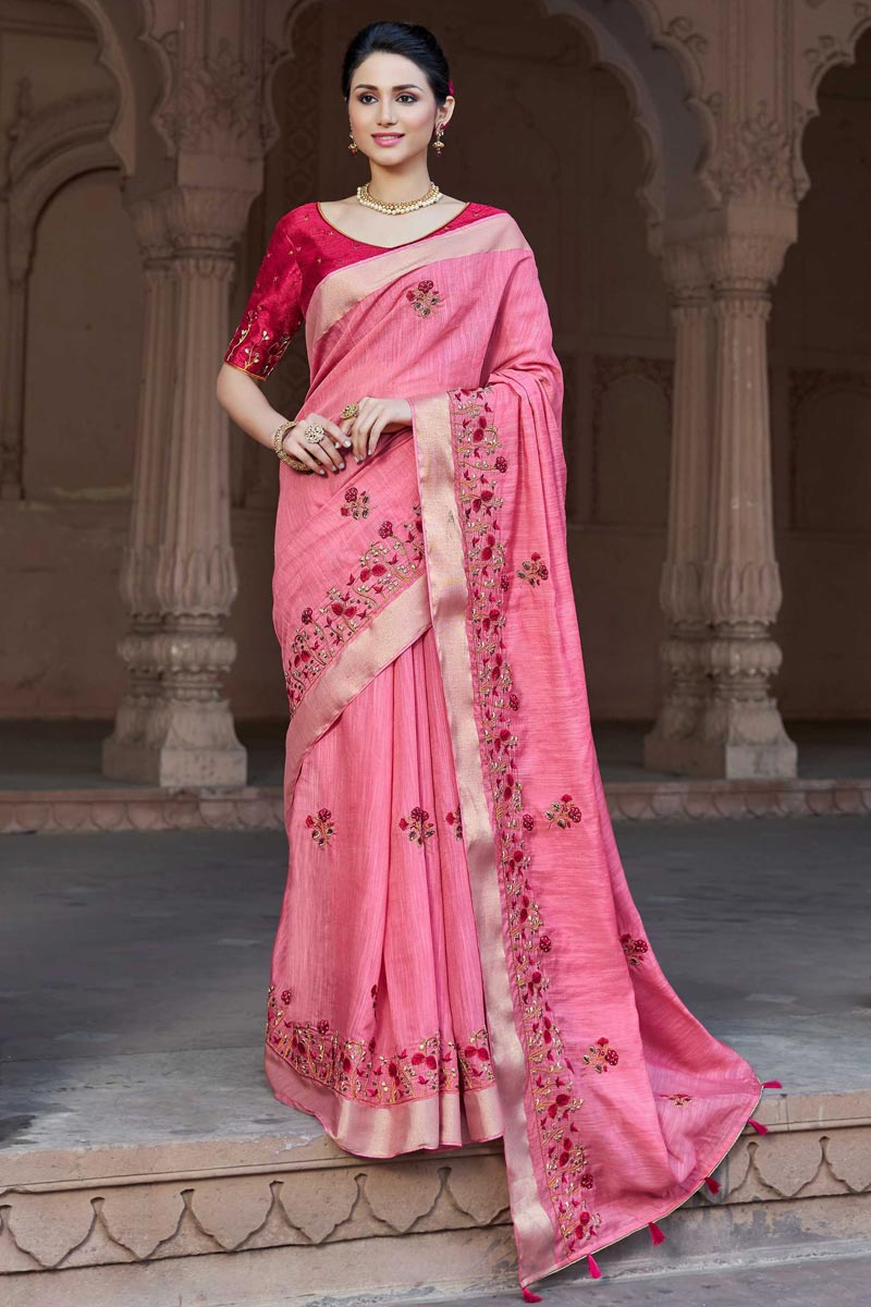 Traditional Viscose Fabric Party Wear Embroidered Saree In Pink