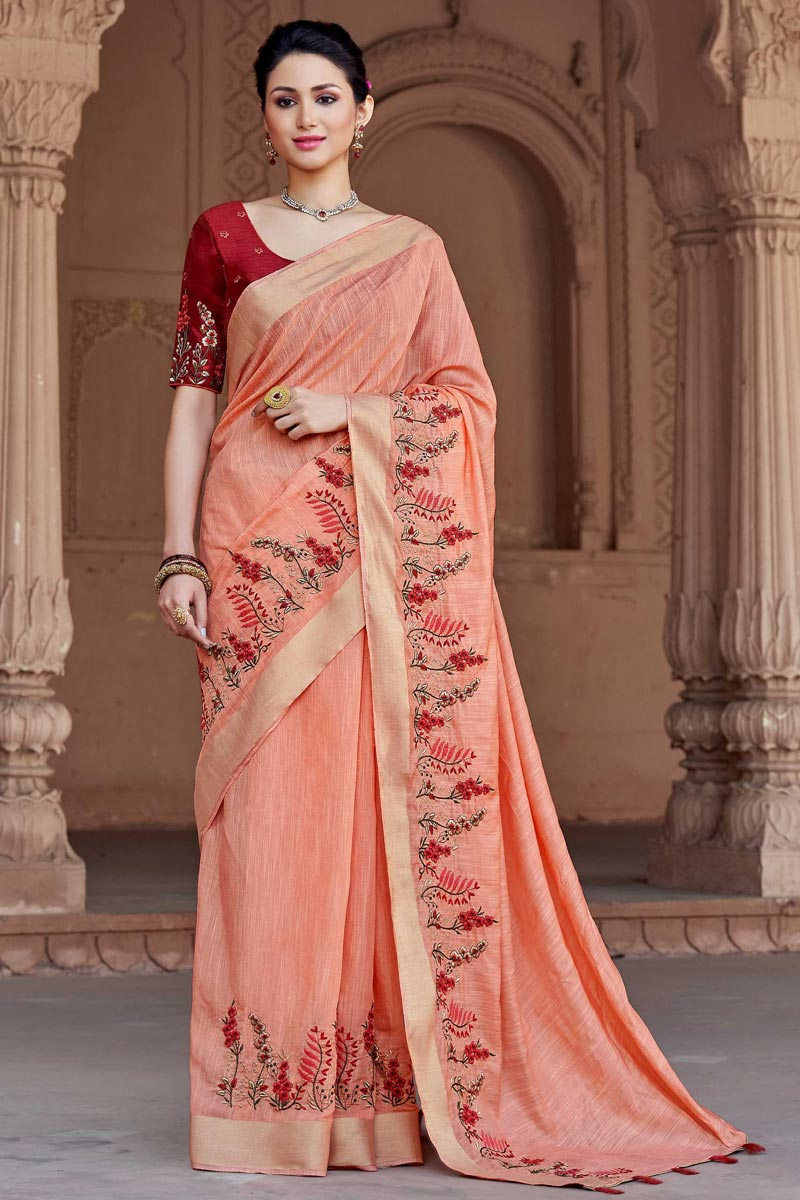 Pleasant Peach Party Wear Embroidered Saree In Viscose Fabric
