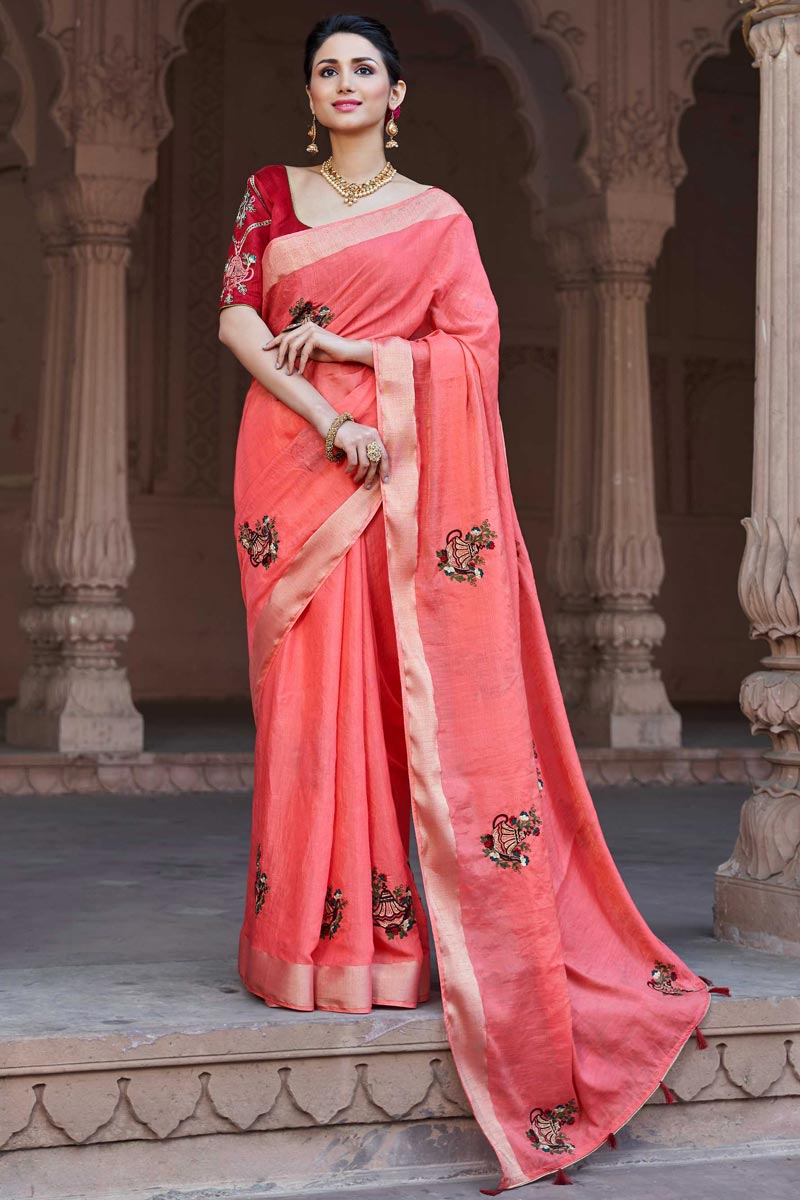 Viscose Fabric Traditional Peach Party Wear Embroidered Saree