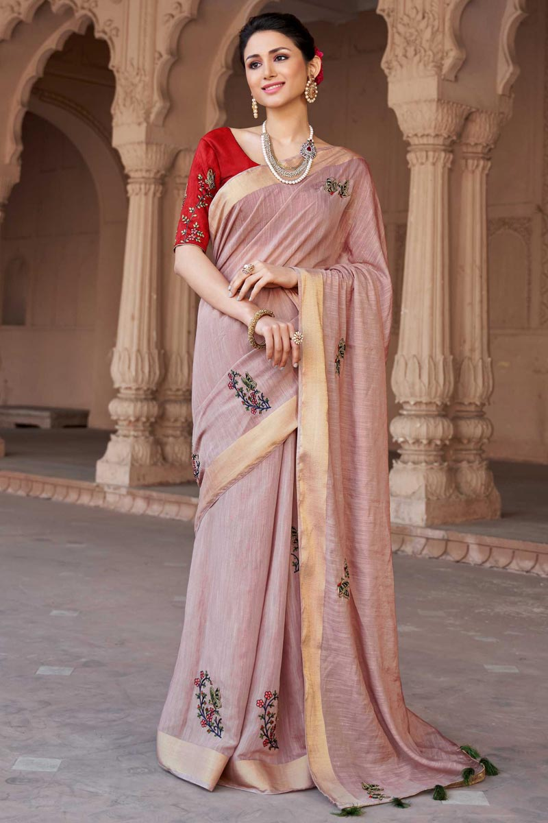 Viscose Fabric Embroidered Traditional Pink Saree For Function