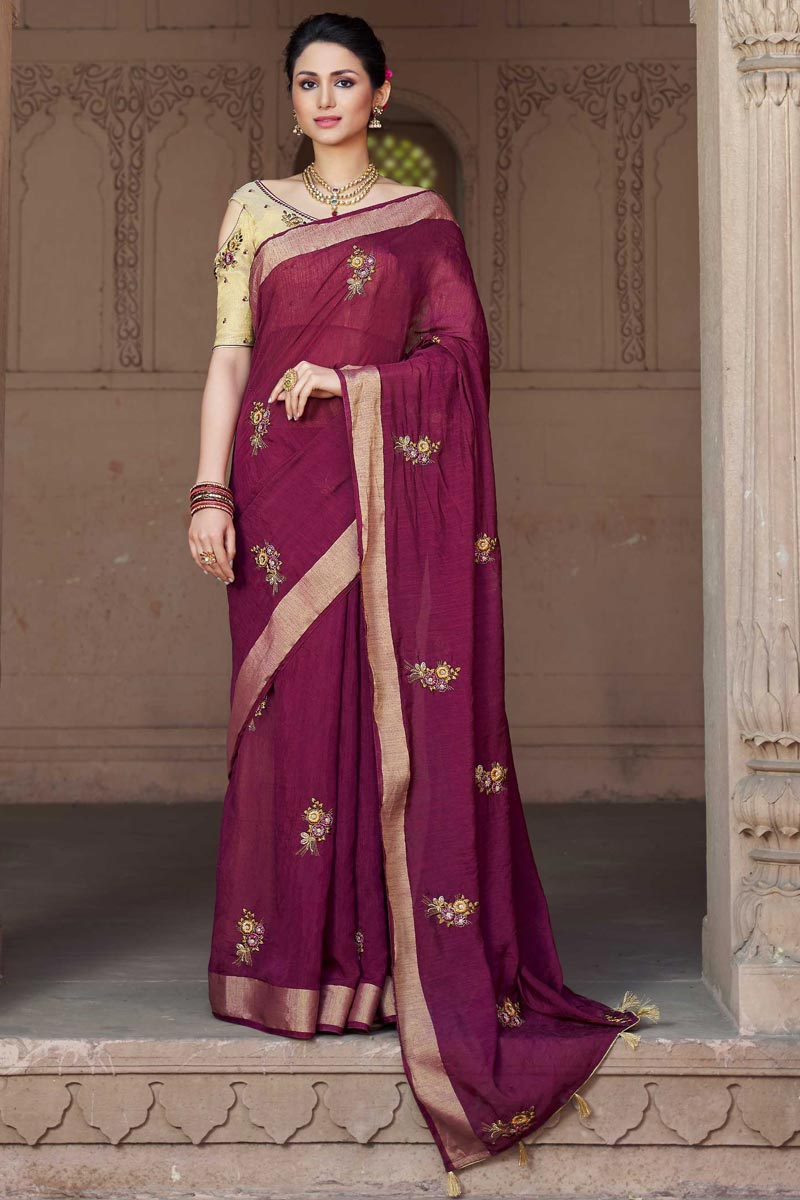 Traditional Viscose Fabric Purple Embroidered Party Wear Saree