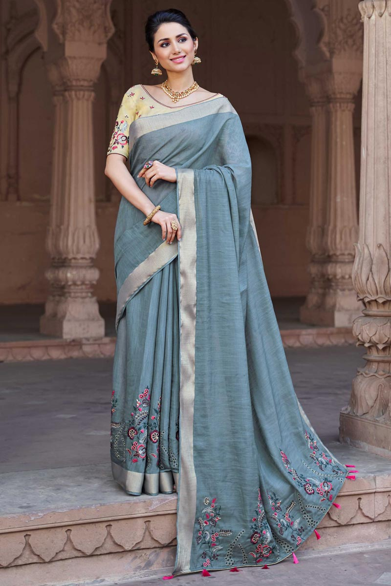 Pleasant Viscose Fabric Party Wear Embroidered Saree In Grey