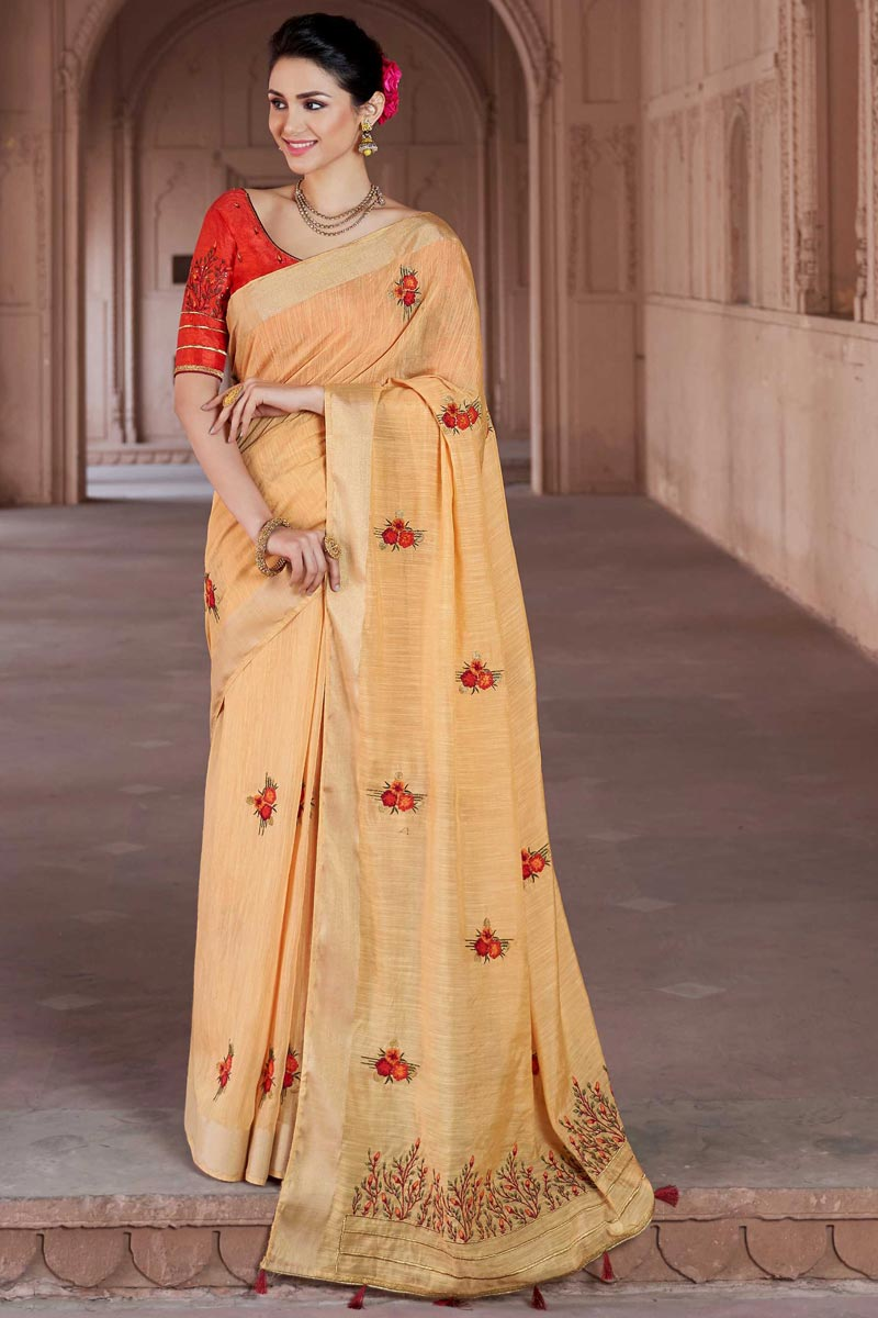 Beige Traditional Viscose Fabric Party Wear Embroidered Saree