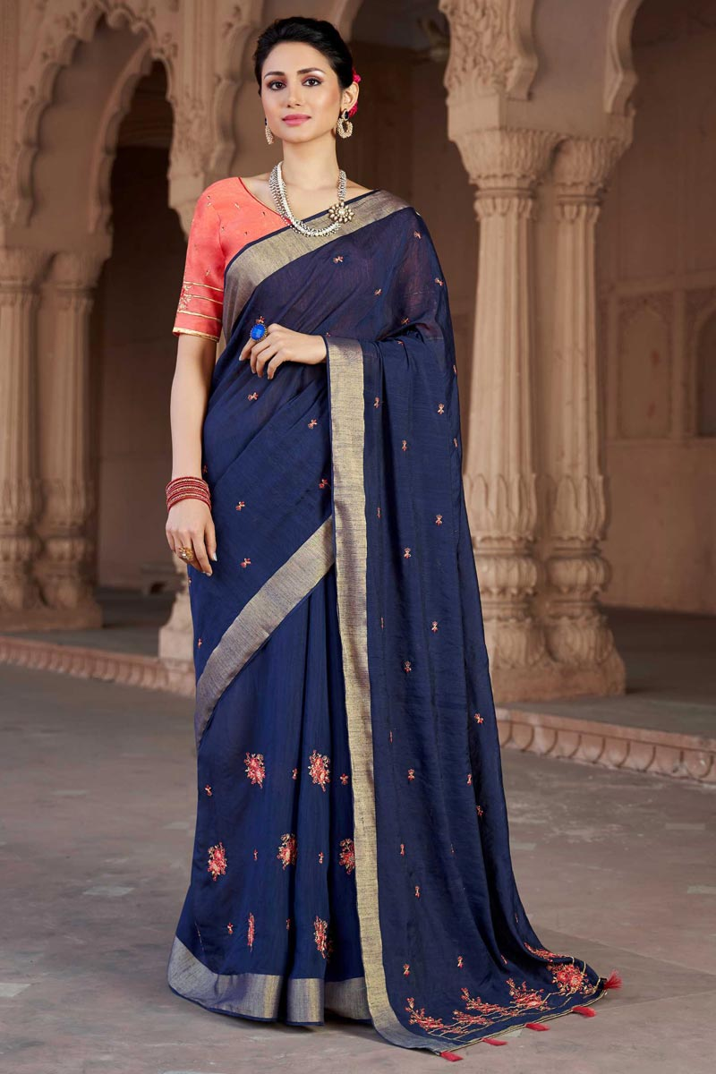 Traditional Viscose Fabric Party Wear Embroidered Saree In Navy Blue