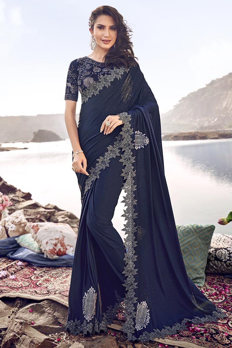 Navy Blue Designer Fancy Fabric Wedding Function Wear Embroidered Saree