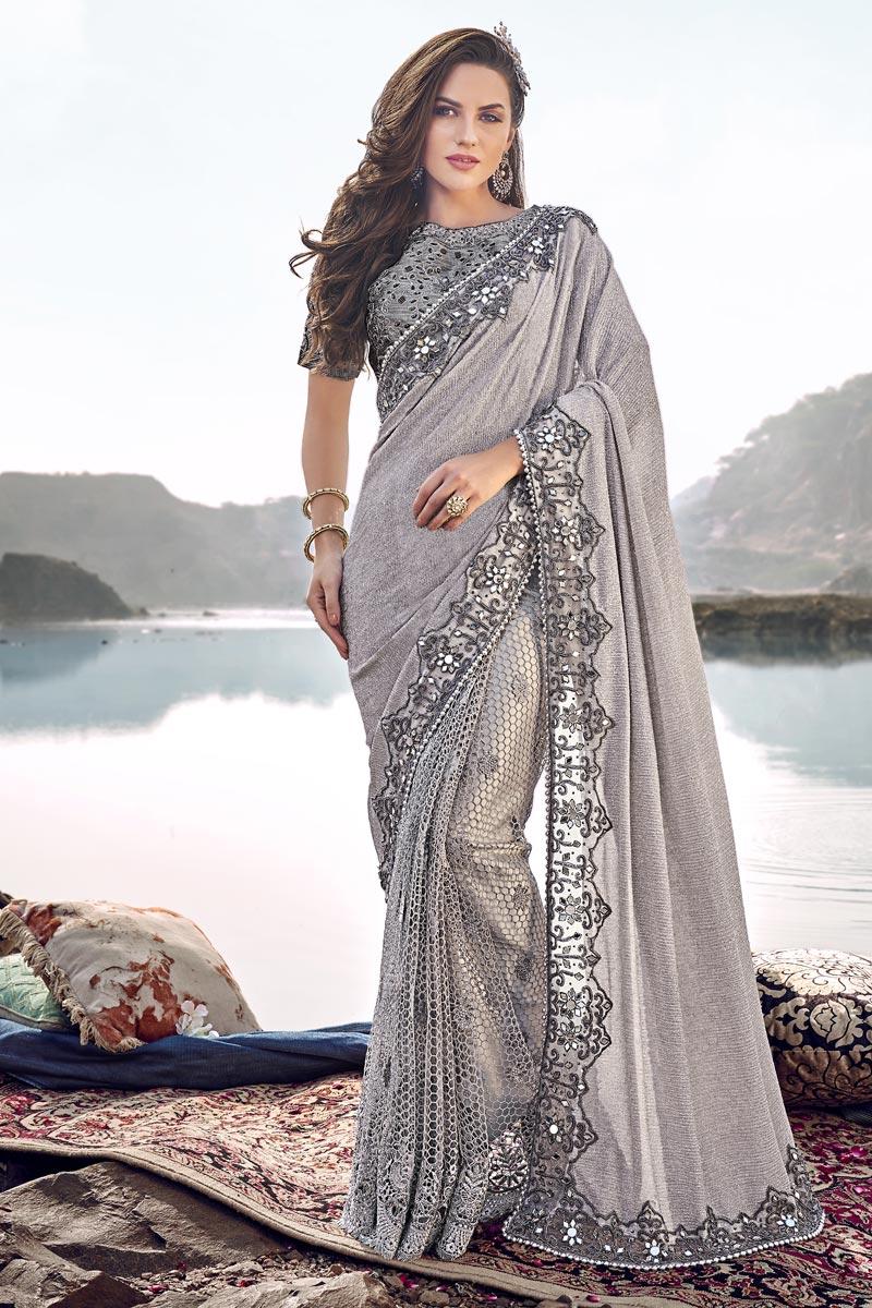 Designer Fancy Fabric Wedding Function Wear Grey Embroidered Saree