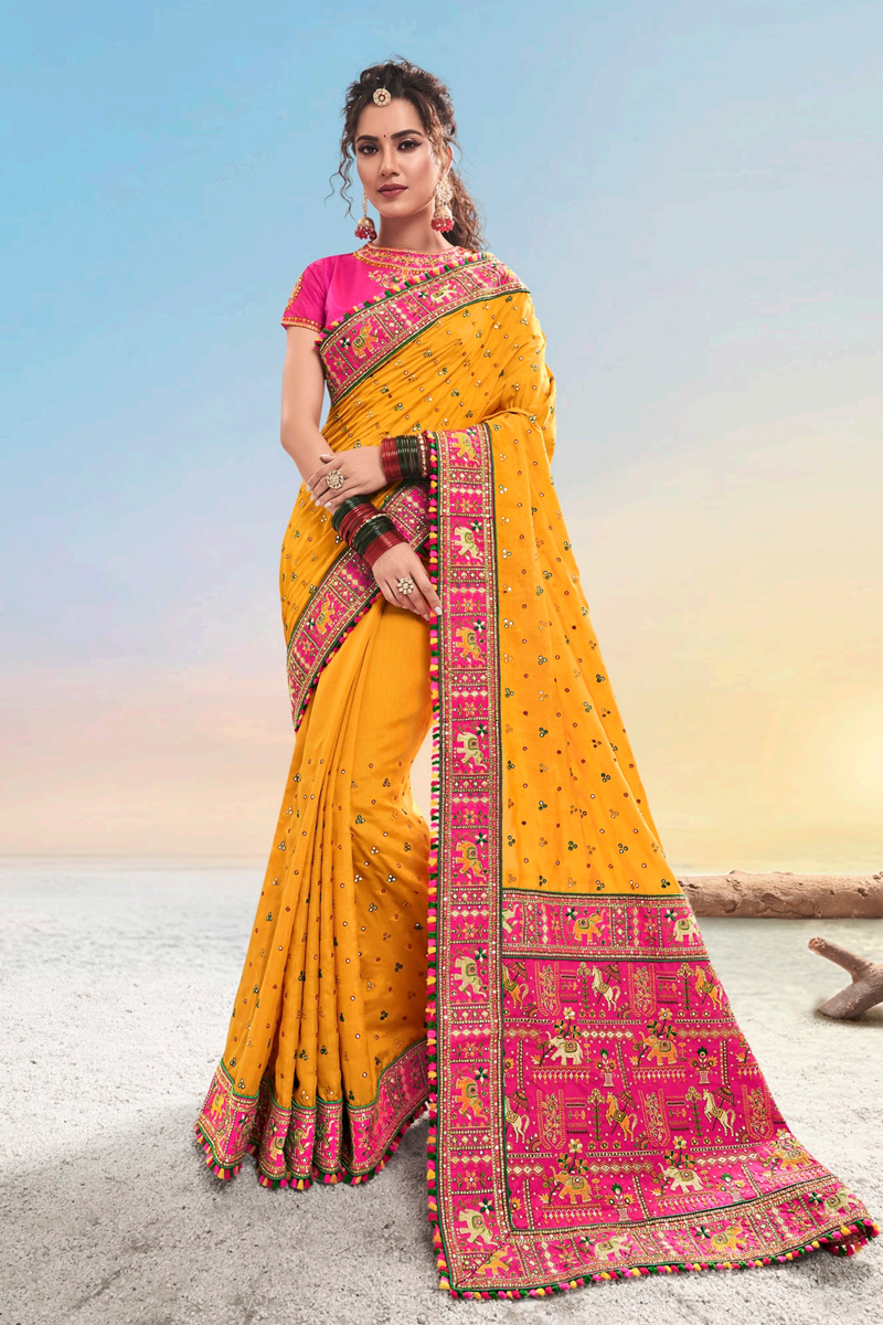 Designer Satin Fabric Function Wear Saree In Mustard Color