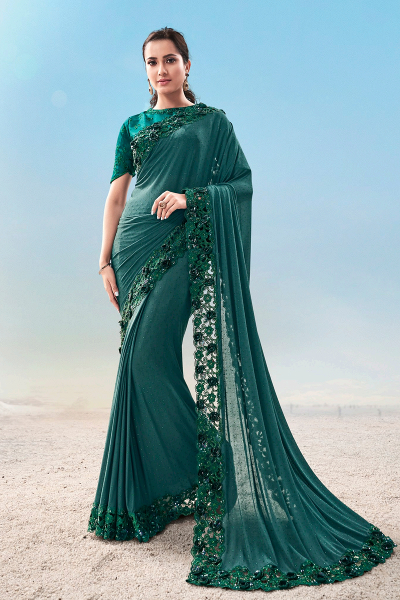Fancy Fabric Designer Party Wear Saree In Teal Color