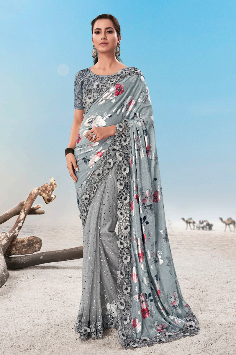 Grey Color Net Fabric Saree For Mehendi Ceremony