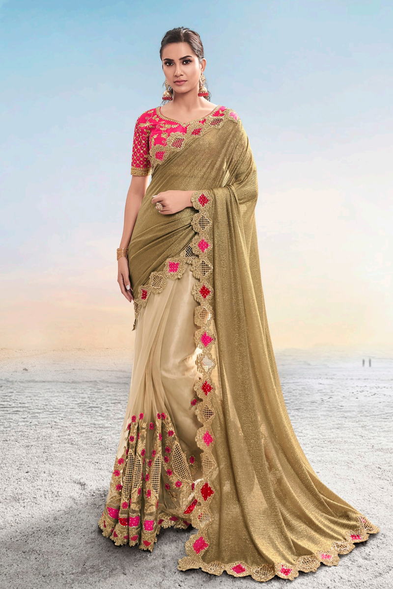 Net Fabric Light Brown Color Saree For Wedding Function