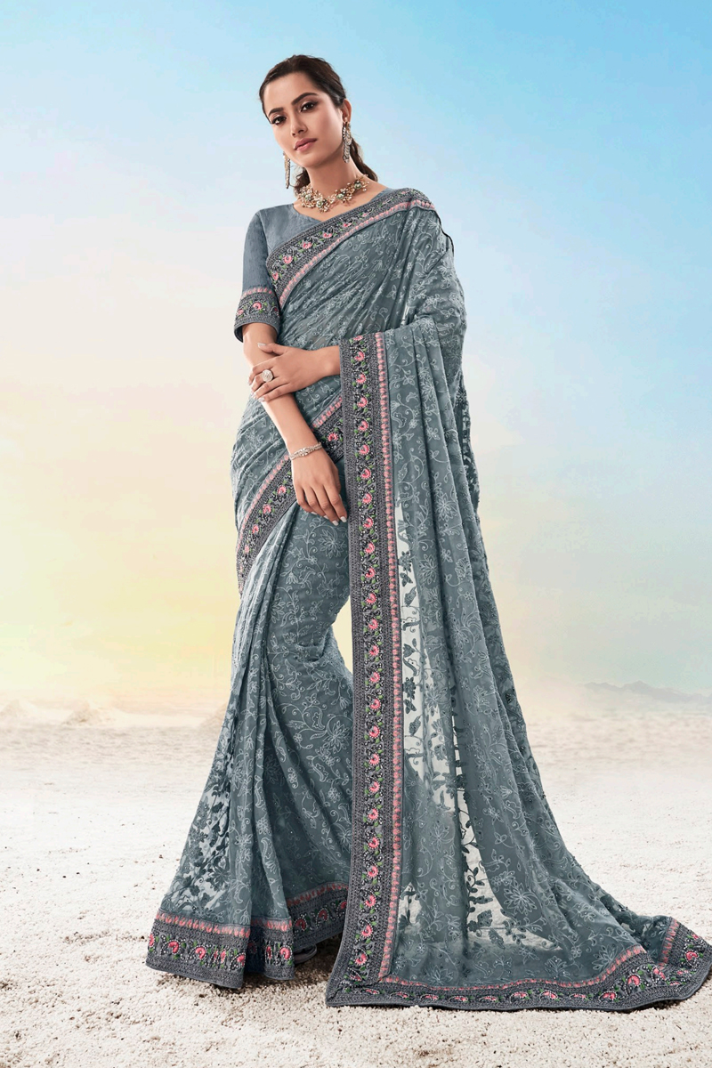 Grey Color Party Wear Saree In Georgette Fabric
