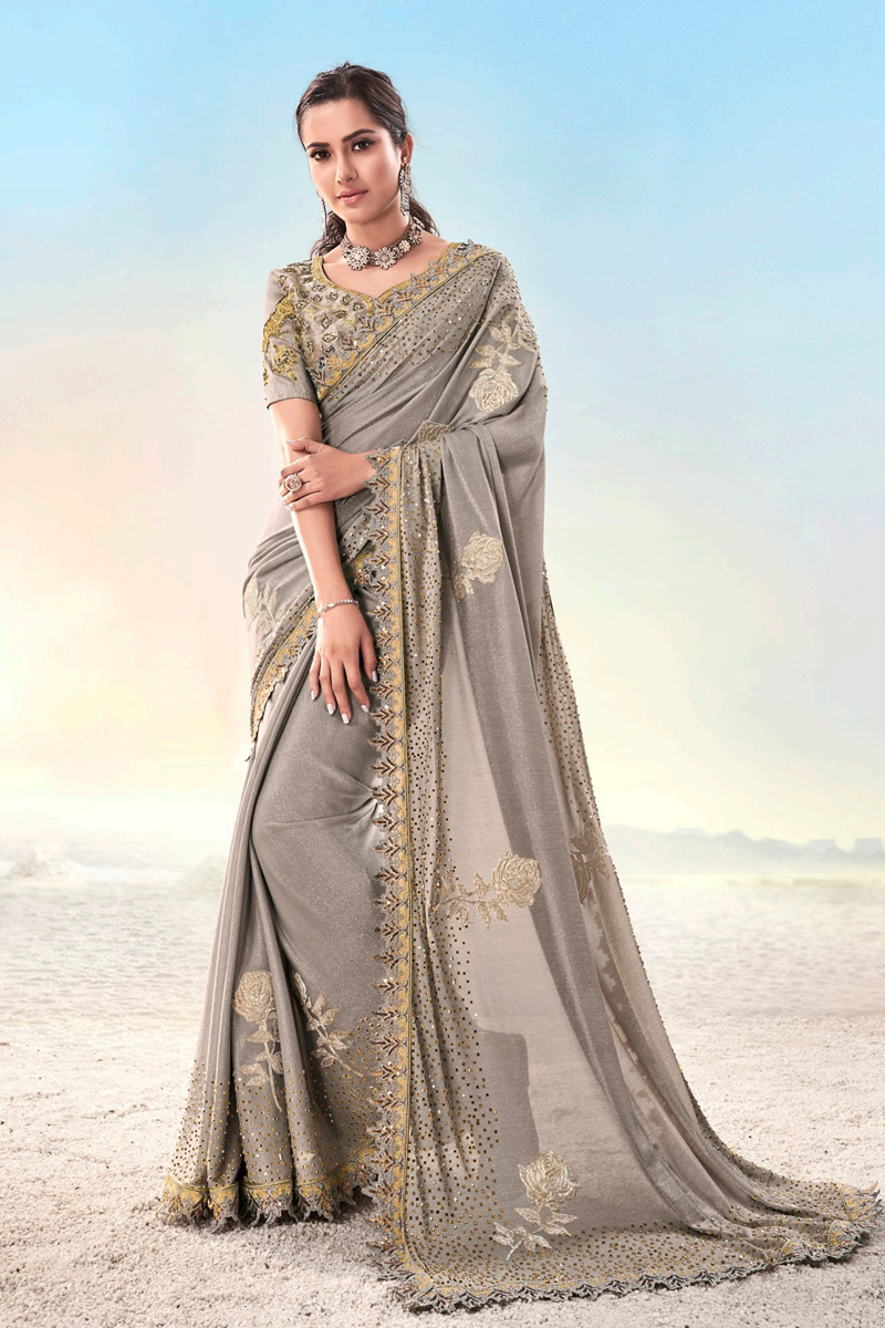 Fancy Fabric Designer Saree In Dark Beige Color