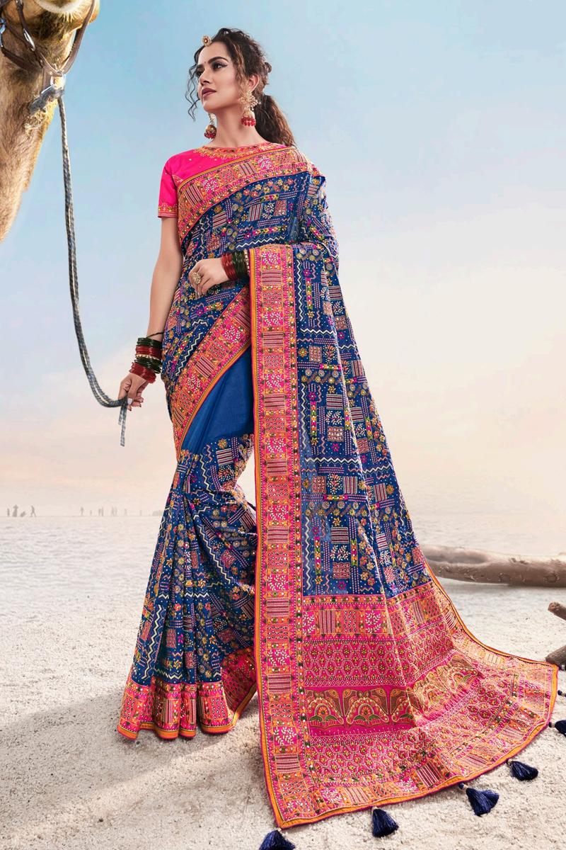 Blue Color Art Silk Fabric Function Wear Saree