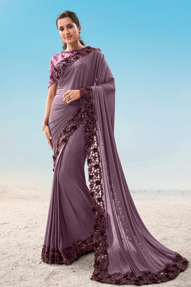 Festive Special Function Wear Dark Lavender Color Saree In Fancy Fabric