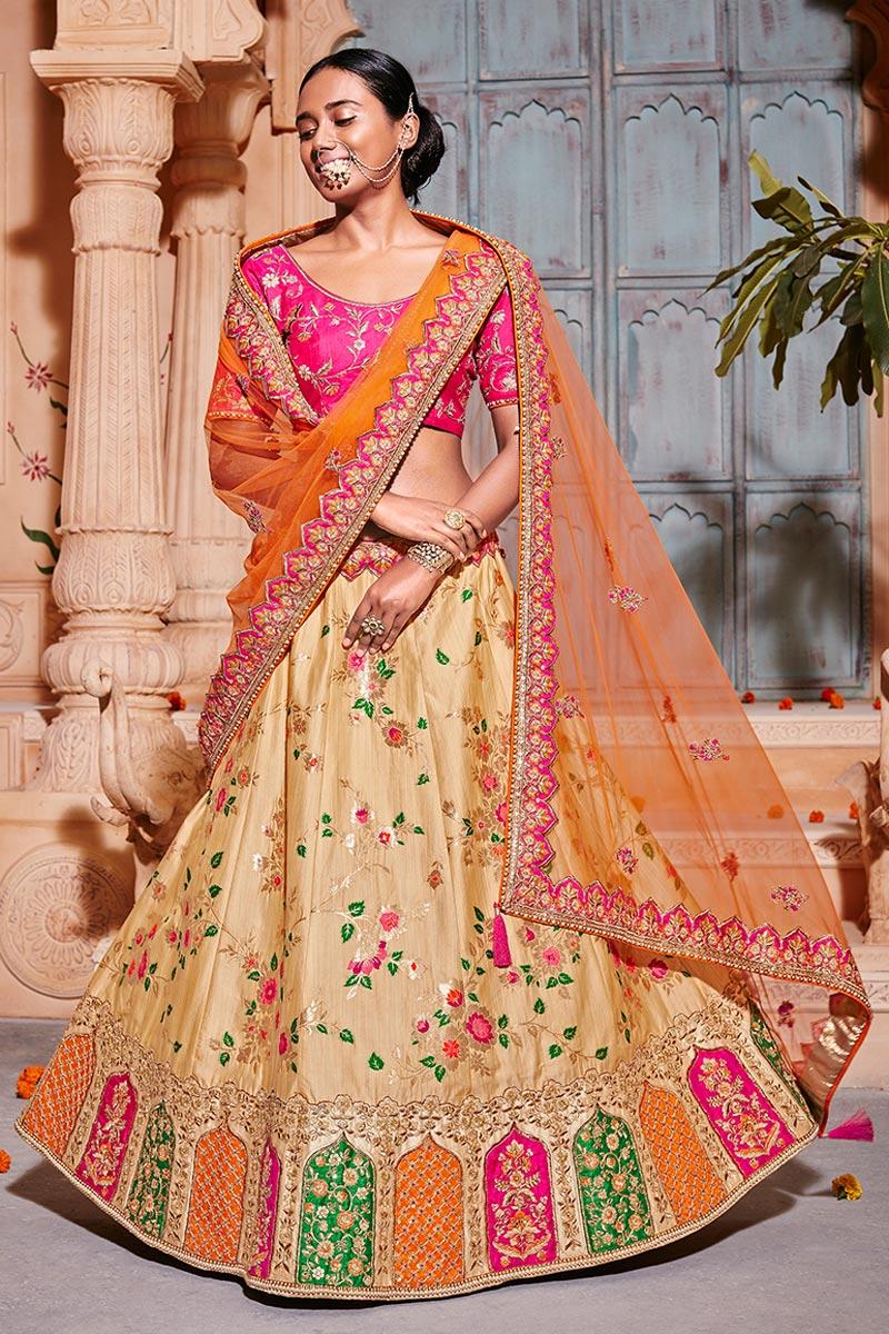 Best Selling Wedding Function Wear Art Silk Fabric Cream Fancy Lehenga Choli