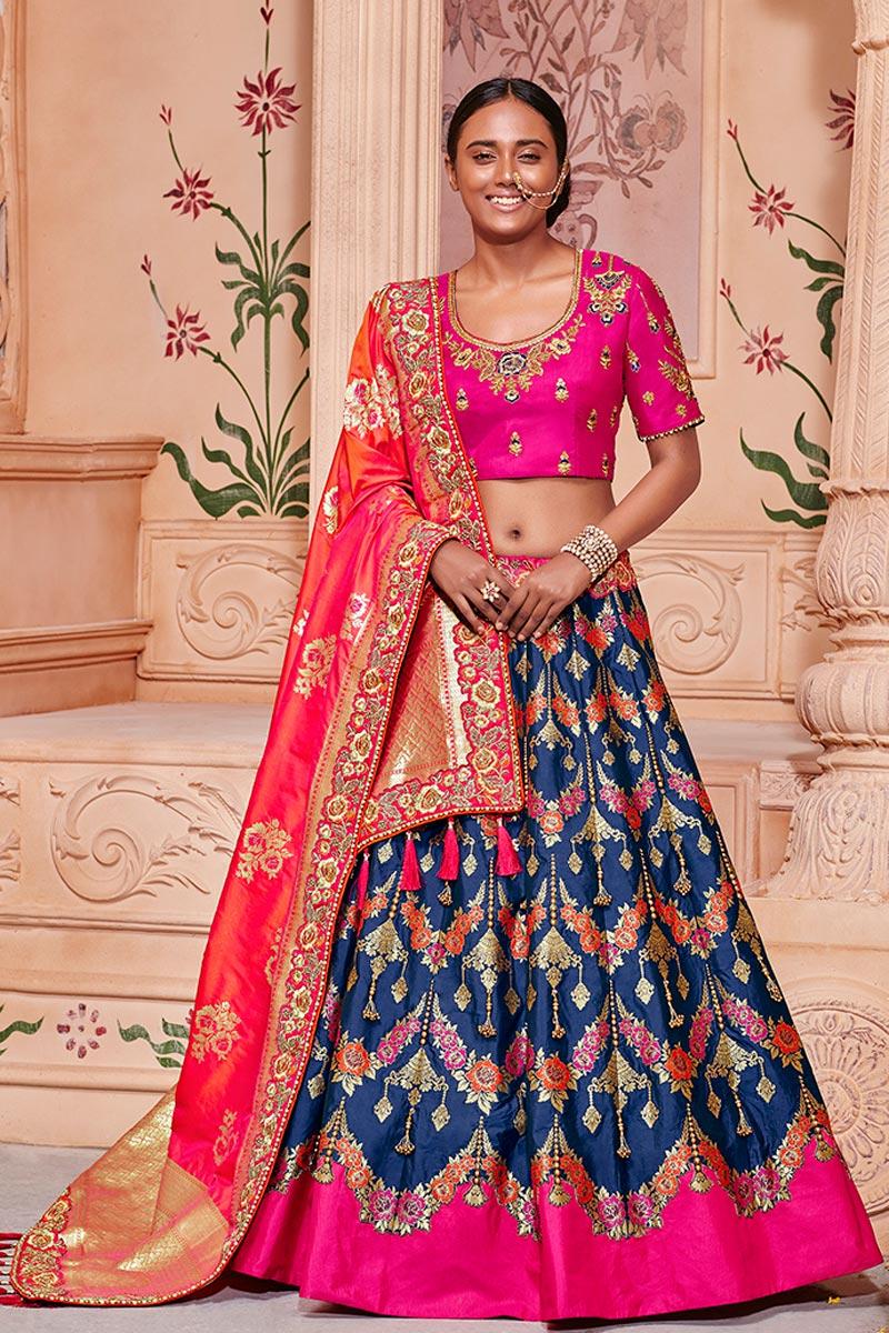 Best Selling Wedding Function Wear Navy Blue Art Silk Fabric Fancy Lehenga Choli