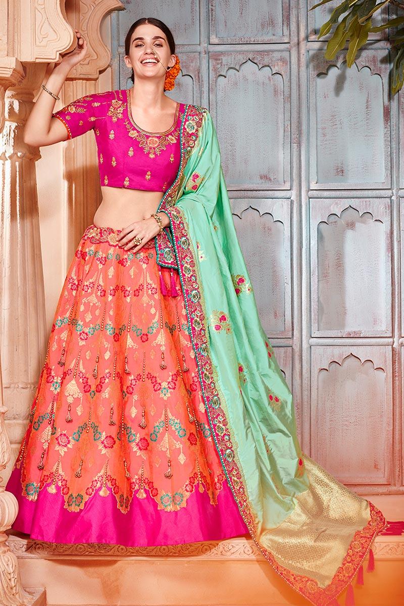 Best Selling Salmon Color Designer Wedding Wear Art Silk Fabric Embroidered Lehenga