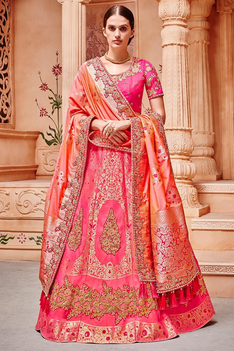 Best Selling Sangeet Wear Pink Art Silk Fabric Designer Embellished Lehenga
