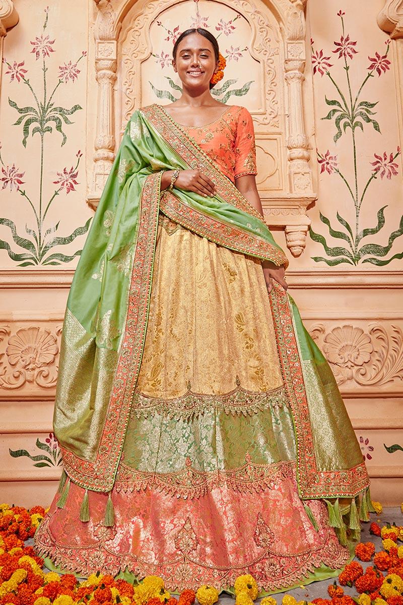Eid Special Best Selling Reception Wear Designer Lehenga Choli In Cream Art Silk Fabric