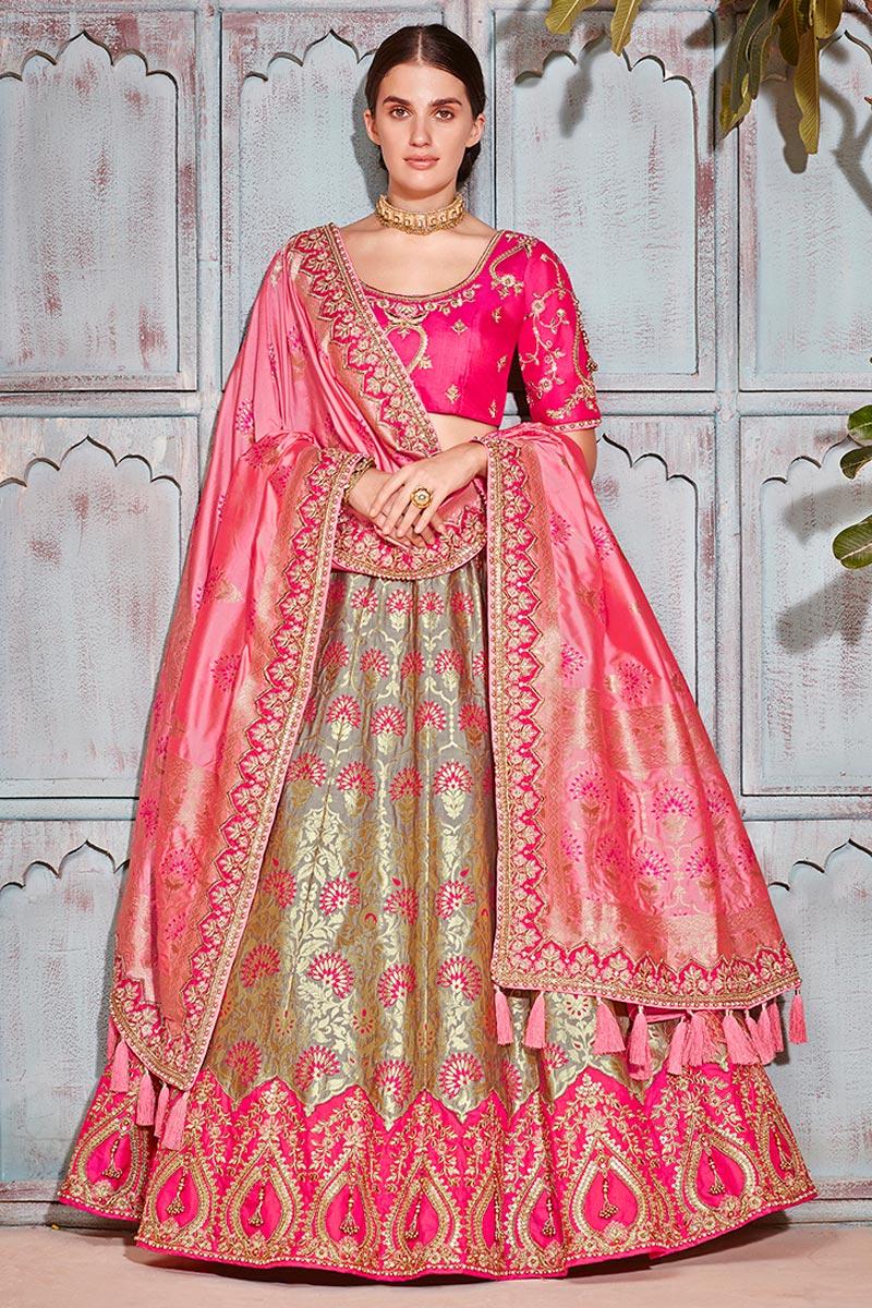 Best Selling Wedding Wear Designer Embroidered Lehenga In Art Silk Fabric