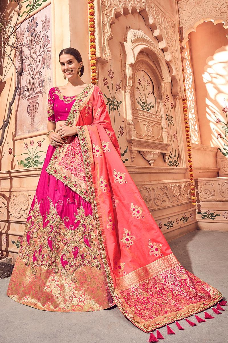 Best Selling Wedding Function Wear Rani Color Fancy Lehenga Choli