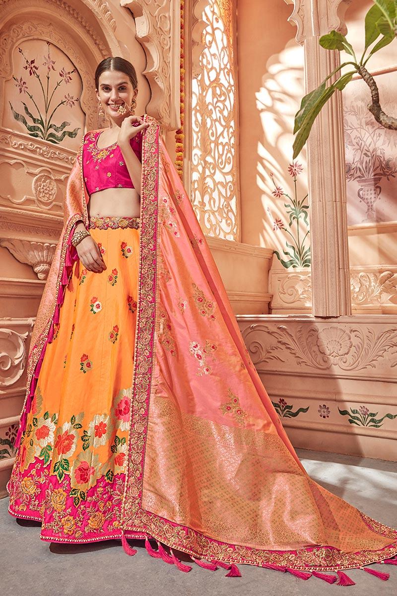 Best Selling Designer Wedding Wear Art Silk Fabric Embroidered Lehenga