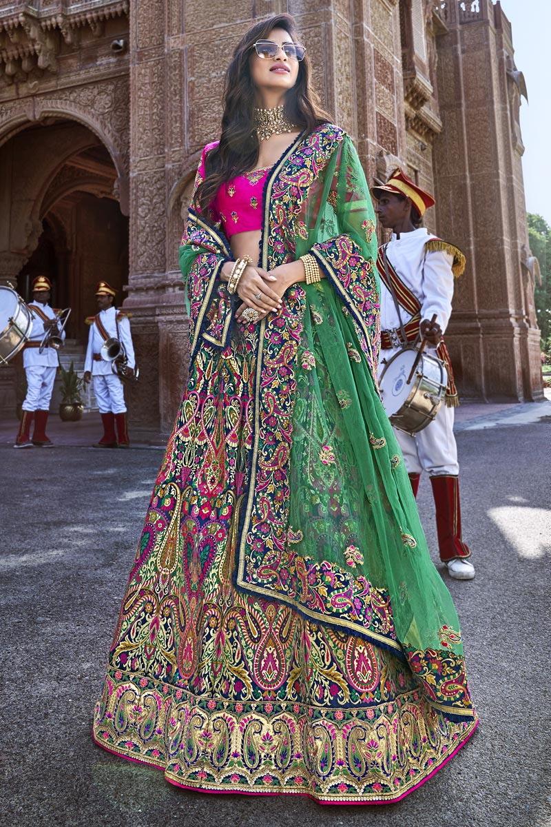 Designer Multi Color Embroidered Silk Fabric Wedding Function Wear Lehenga Choli