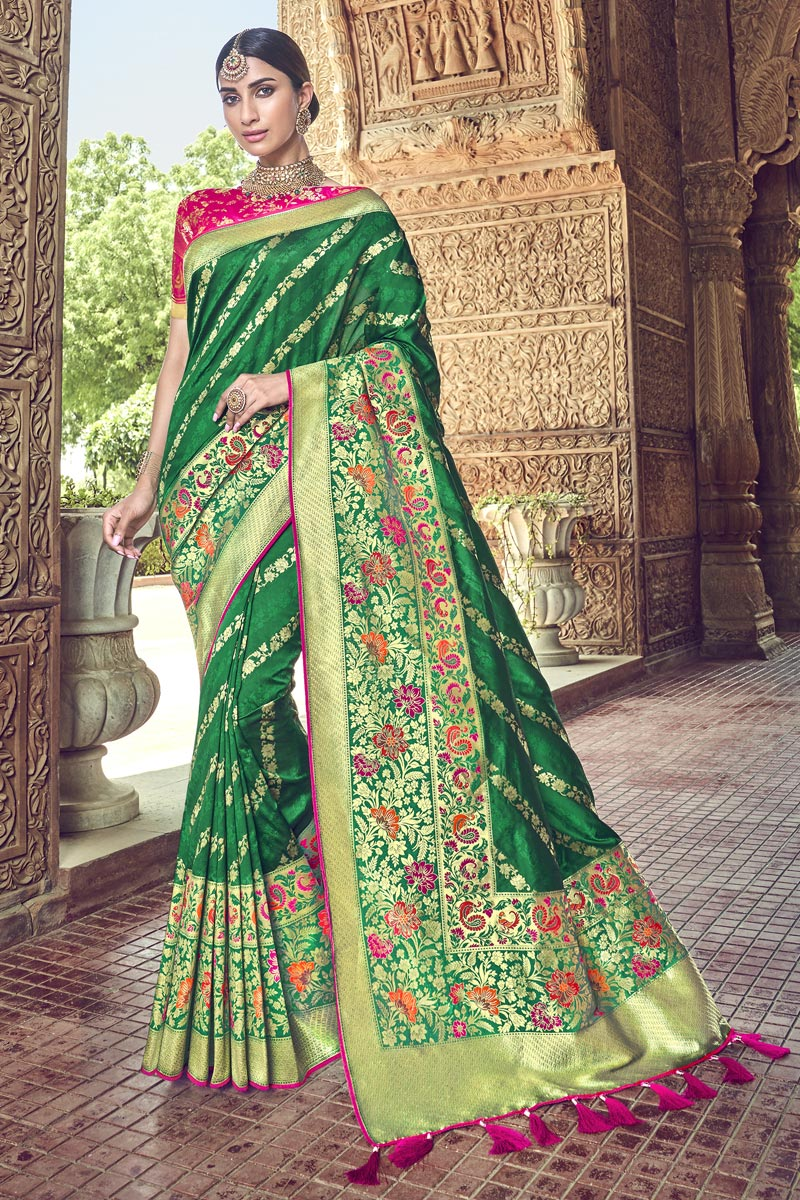 Green Silk Fabric Traditional Wear Designer Weaving Work Saree With Heavy Blouse