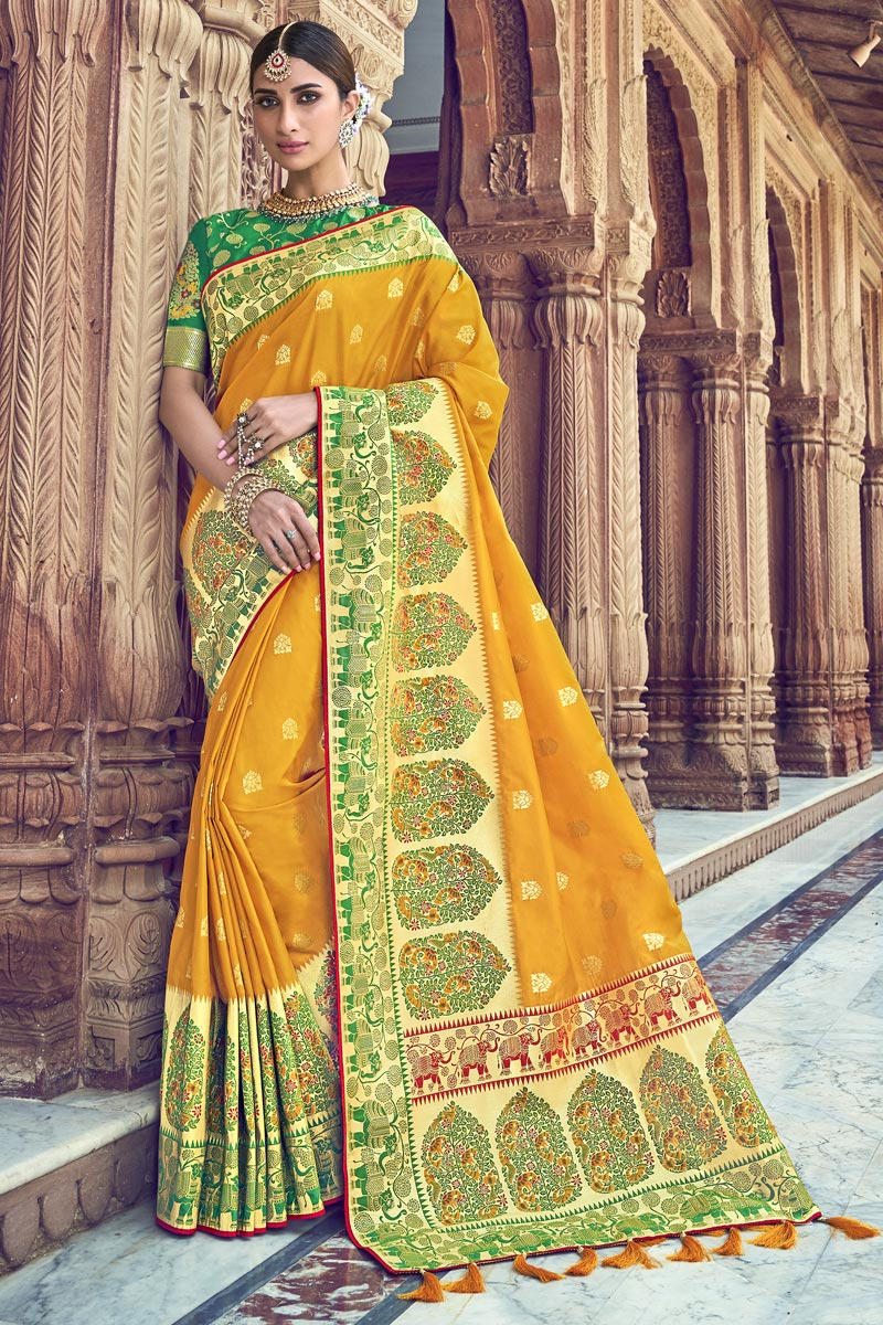 Traditional Wear Silk Fabric Designer Weaving Work Saree With Heavy Blouse In Yellow