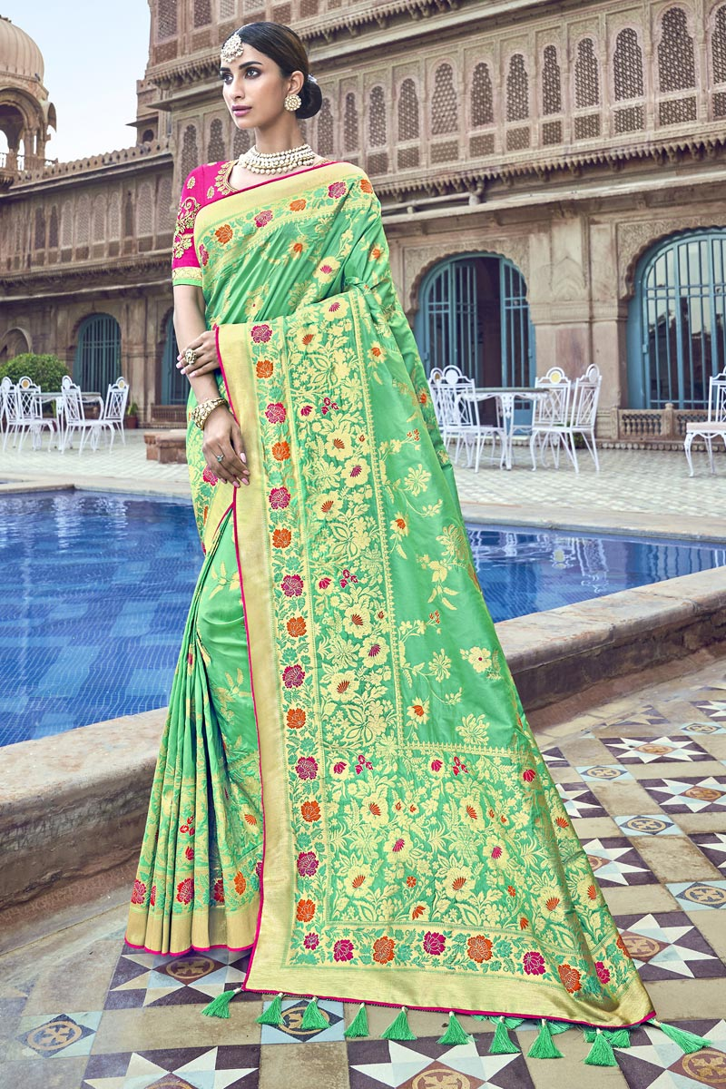 Silk Fabric Traditional Wear Designer Weaving Work Sea Green Saree With Heavy Blouse
