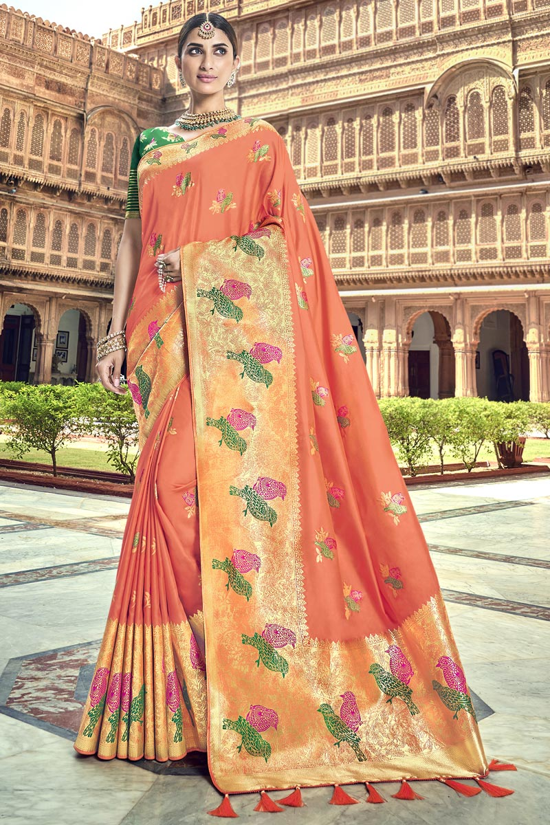 Traditional Wear Silk Fabric Designer Peach Weaving Work Saree With Heavy Blouse