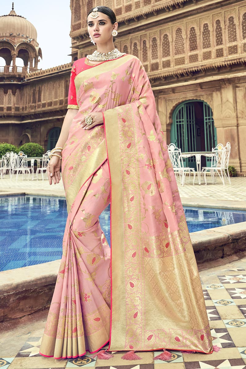 Silk Fabric Traditional Wear Pink Designer Weaving Work Saree With Heavy Blouse