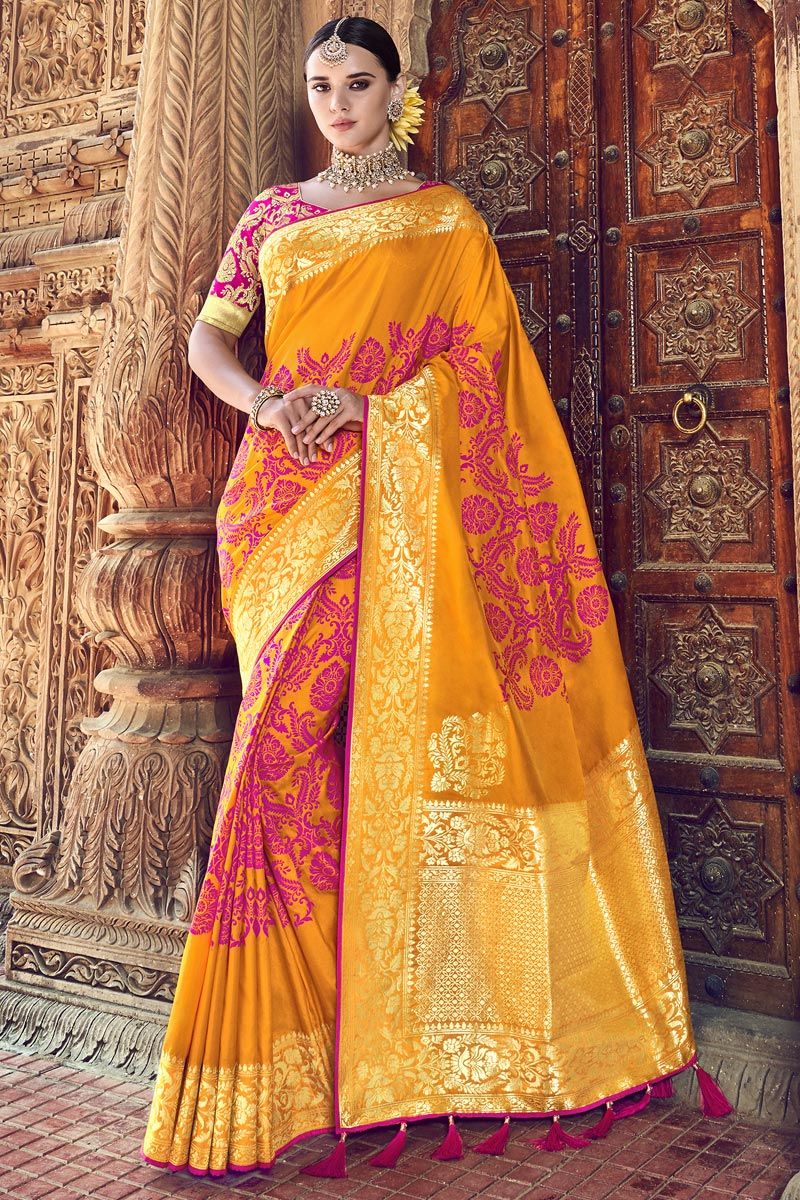 Traditional Wear Silk Fabric Mustard Designer Weaving Work Saree With Heavy Blouse