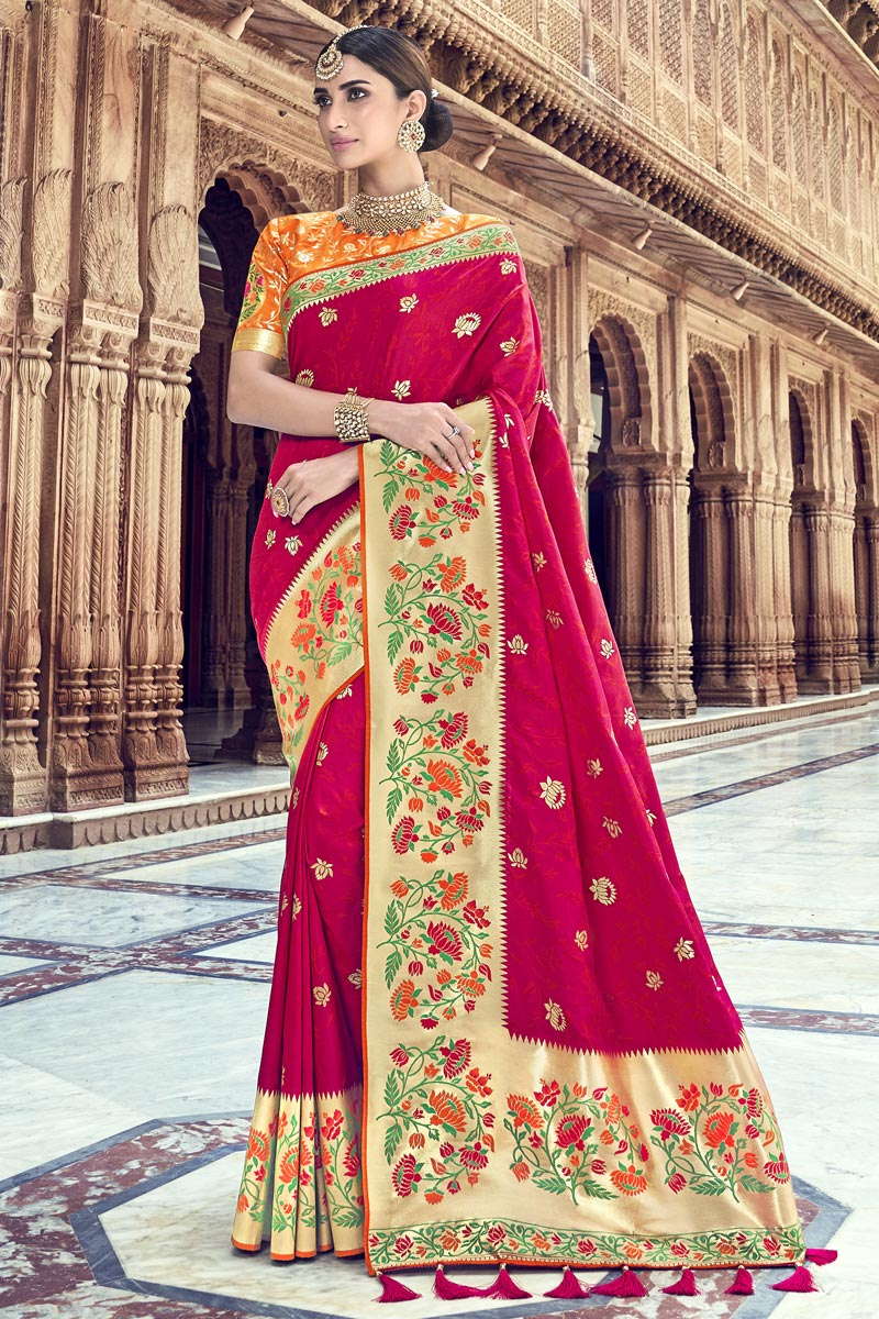 Silk Fabric Traditional Wear Red Designer Weaving Work Saree With Heavy Blouse