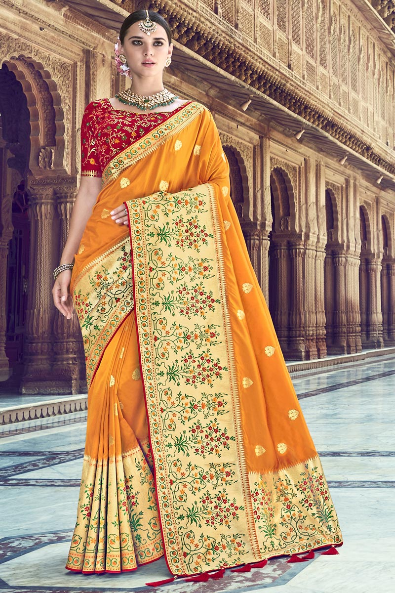 Traditional Wear Mustard Designer Weaving Work Saree With Heavy Blouse In Silk Fabric
