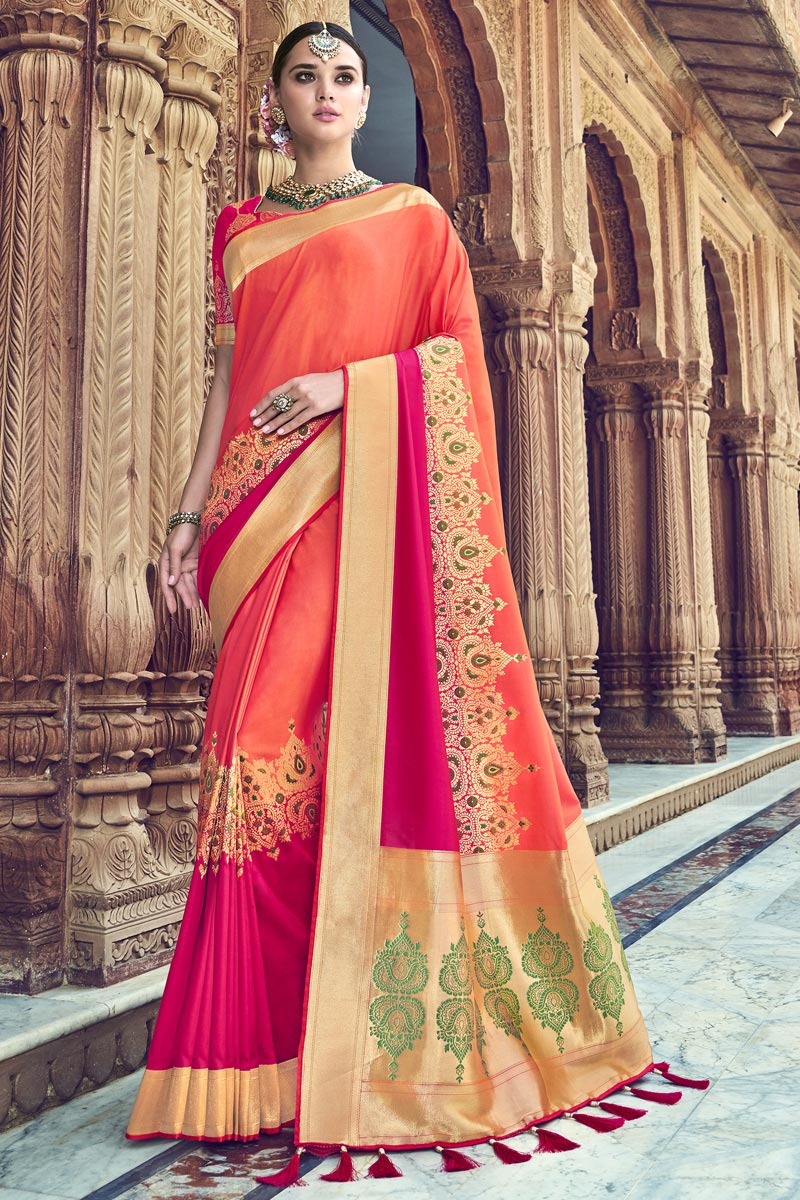 Peach Traditional Wear Designer Weaving Work Silk Fabric Saree With Heavy Blouse