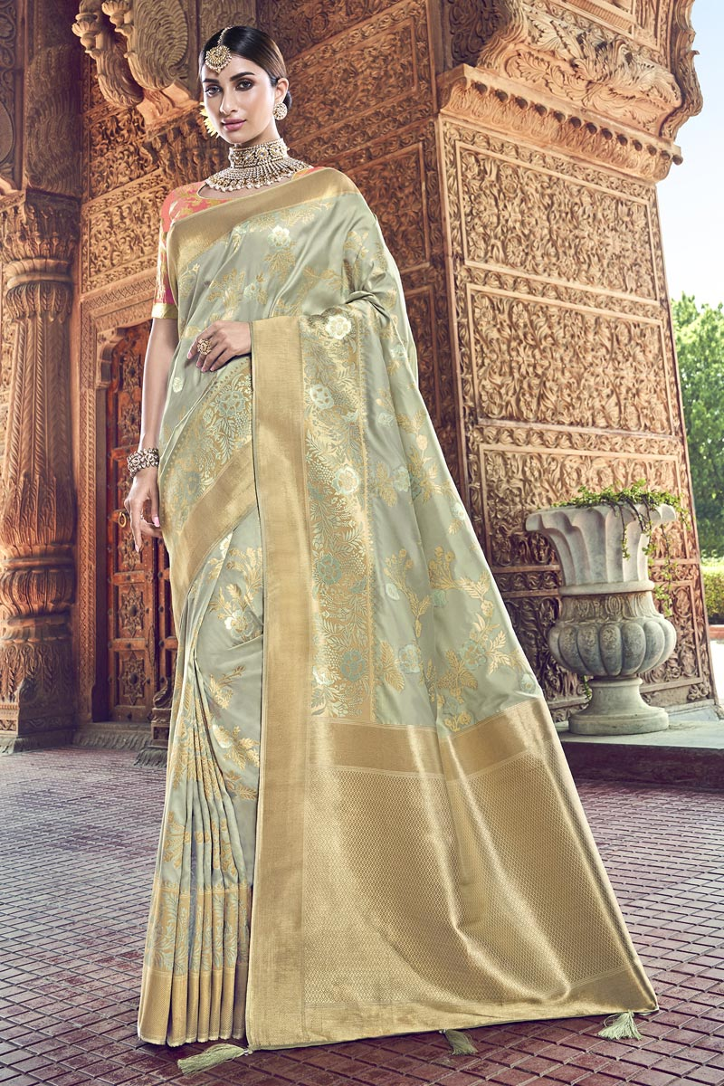 Traditional Wear Grey Designer Silk Fabric Weaving Work Saree With Heavy Blouse